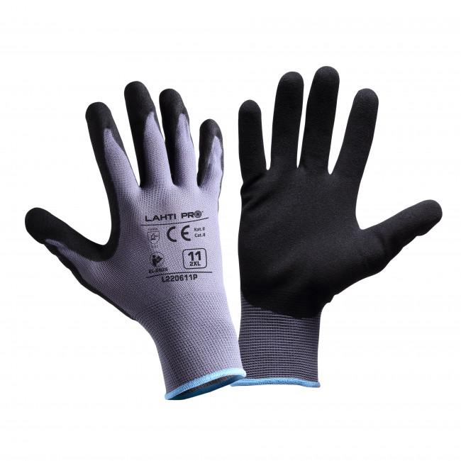 """Rękawice nitr. szaro-czar. l220610p, karta, """"10"""", ce, lahti"""
