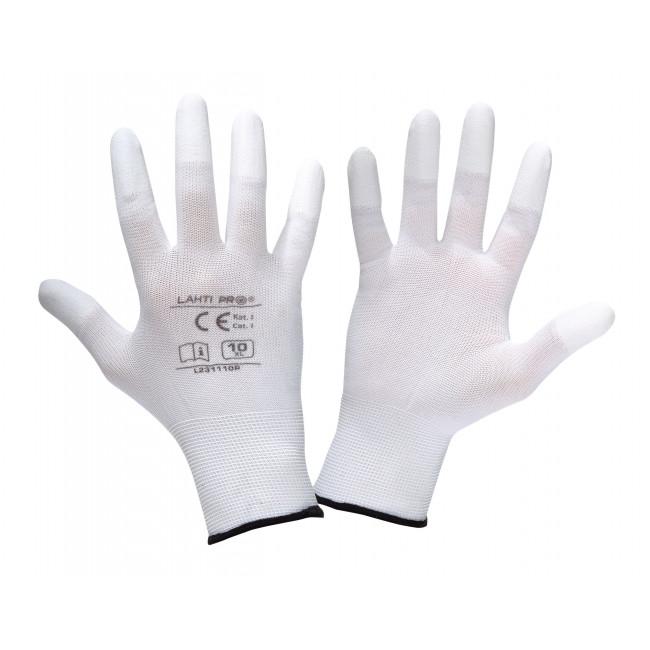 "Rękawice pu końc. pal. białe l231110p, karta, ""10"", ce,lahti"