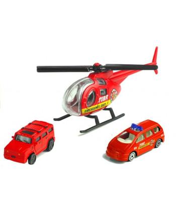 Pojazdy Straży Pożarnej + Tor 380 cm + Helikopter