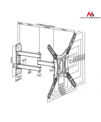 "Uchwyt do telewizora  lub  monitora 23-55"" 30kg uniwersalny Maclean MC-701 czarny max vesa 400x400"